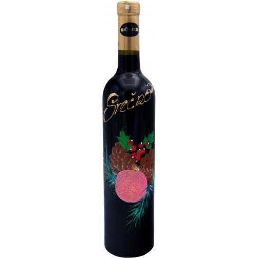 Vino ročna poslikava-novoletni roza okrasek in napis srečno 0.75l, Amon (v.153)