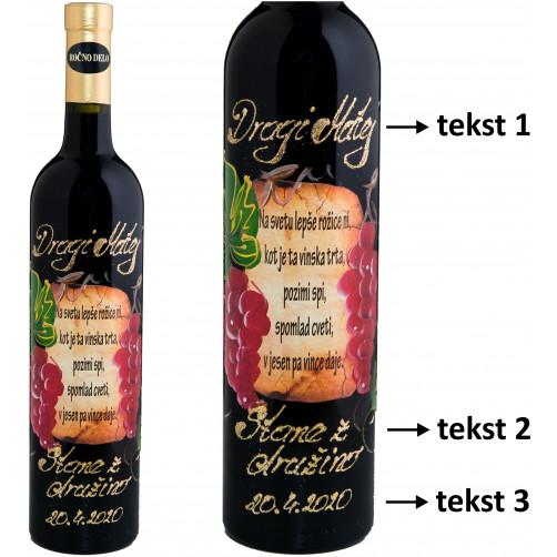 Personalizirano vino Amon - Rdeče grozdje in verz - 0,75l (v104)