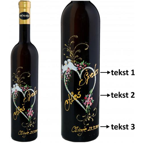 Personalizirano vino Amon - Ljubezen in golobčki - 0,75l (v.105)