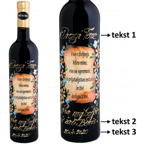 Personalizirano vino Amon-Verz-Poslikava-Spominčice in zlate marjetice-0.75l (v.107)