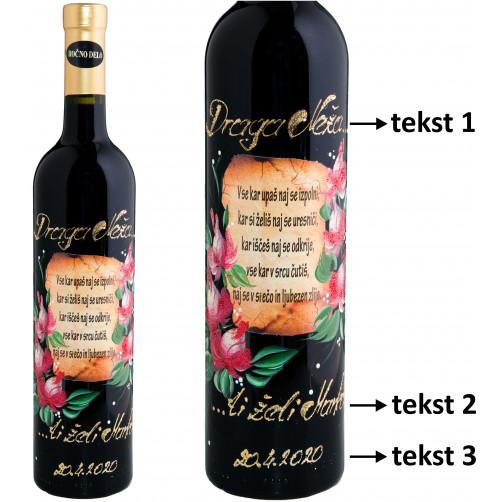 Personalizirano vino Amon-verz in poslikava-rdeča vrtnica-0.75l (v.108)