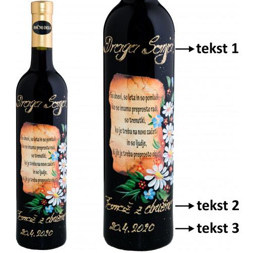 Personalizirano vino Amon-verz in poslikava-marjetice in modre spominčice-0.75l (v.109)