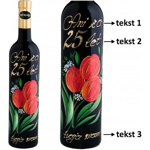 Personalizirano vino Amon-poslikava-jubilejno-rdeč tulipan-0.75l (v.112)
