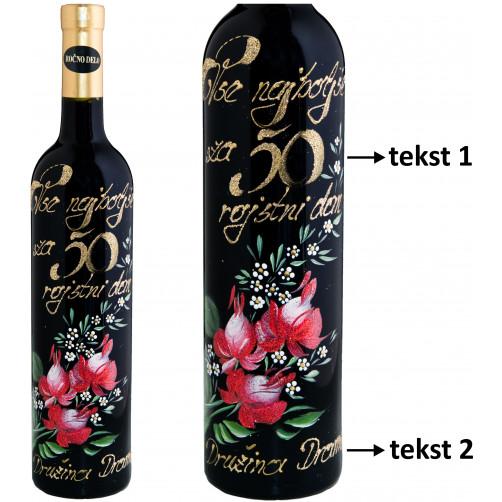 Personalizirano vino Amon-poslikava-jubilejno-rdeča vrtnica in spominčice-0.75l (v.113)